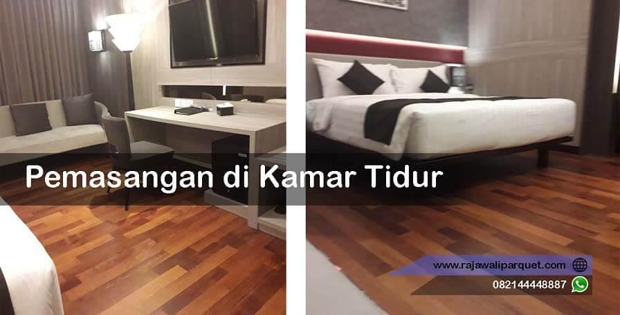 pemasangan lantai kayu merbau di kamar tidur