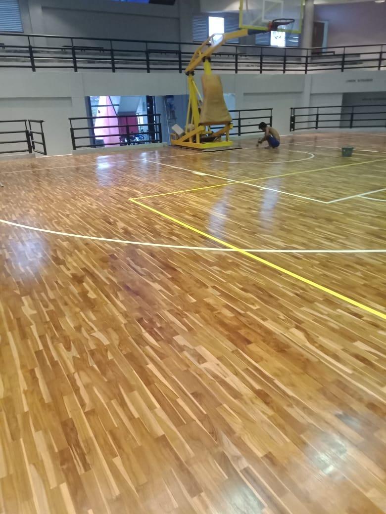 pemasangan lantai kayu Jati Gor satria Putra karawang 15