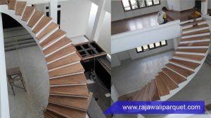desain papan tangga kayu untuk tangga rumah Jati
