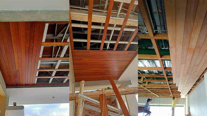proses pemasangan plafon kayu